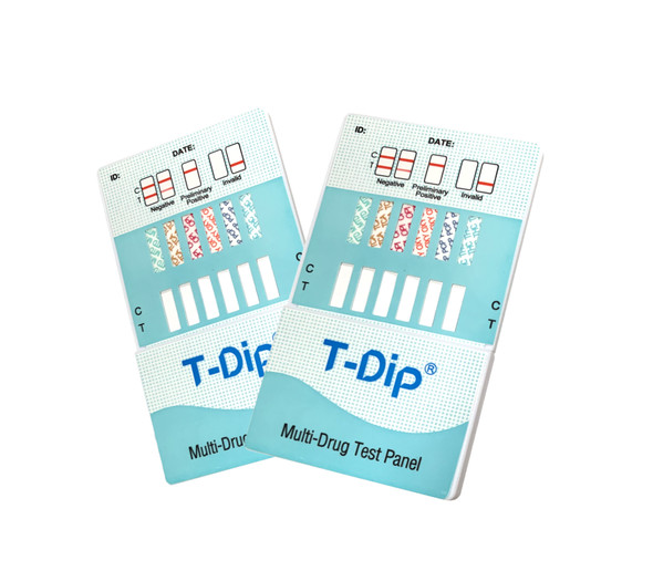 10 Panel UDS T-Dip Card (Box of 25); CLIA Waived - AMP, BAR, BUP, BZO, COC, MAMP, MTD, OPI, OXY, THC