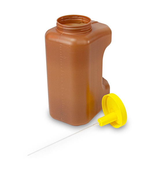 3000mL(3 Liter) 24 Hour Amber Urine Collection Container, Affixed Transfer Top with Screw Cap - Case of 30
