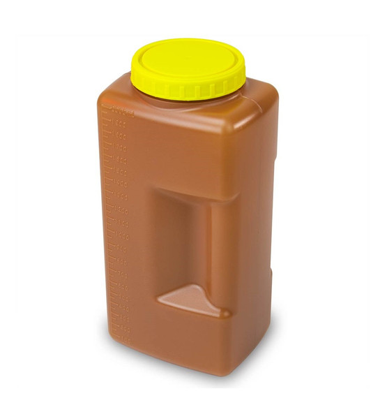 2000mL(2 Liter) 24 Hour Amber Urine Collection Container, Affixed Screw Cap - Case of 54