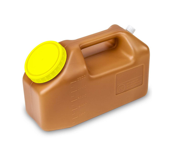 2500mL(2.5 Liter) 24 Hour Amber Urine Collection Container, Affixed Screw Cap - Case of 30