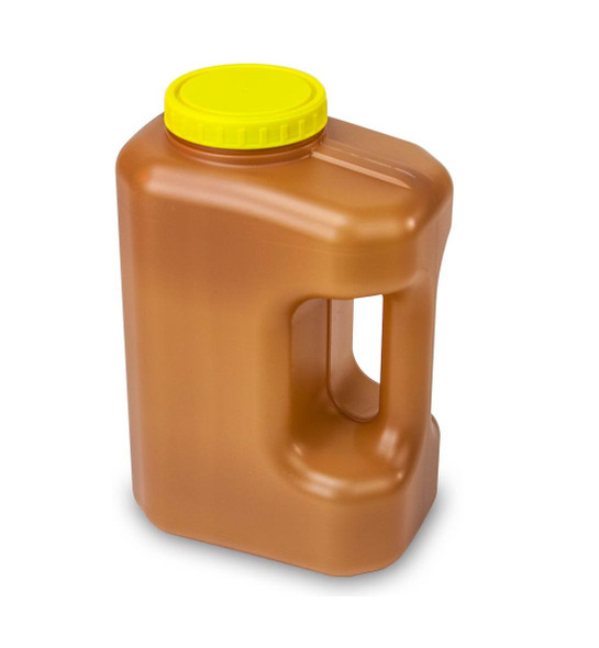 3000mL(3 Liter) 24 Hour Amber Urine Collection Container, Affixed Screw Cap - Case of 30