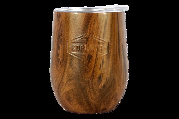 12oz Wood Grain Wine Goblet-Front