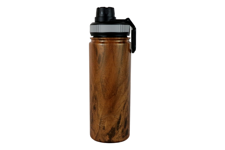 18oz Wood Grain Water Bottle- Front