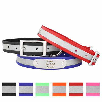 Reflective Waterproof Soft Grip Dog Collars with Nameplates