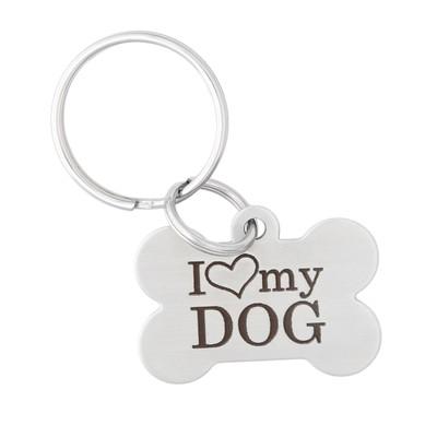 Signature I Love My Dog Keychain - Bone Tag