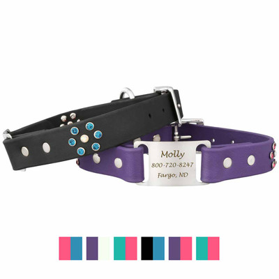Personalized Jewel Series Soft Grip ScruffTag Dog Collar and Swatches