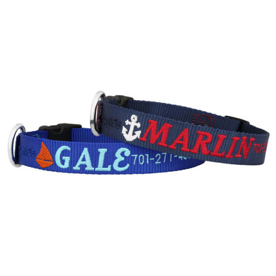 Embroidered Nautical Dog Collars