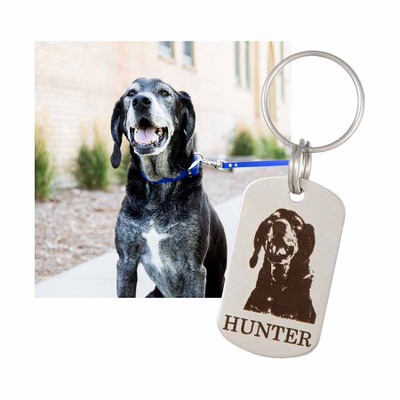 Custom Pet Photo Engraved Keychain - Vertical Option with Photo