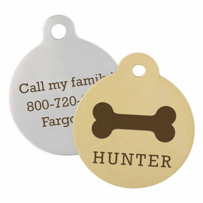 circular dog tags with bone