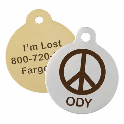 Peace Sign Dog ID Tag