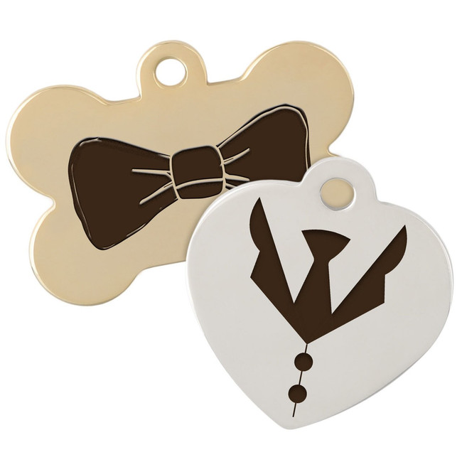 bowtie and necktie dog tags