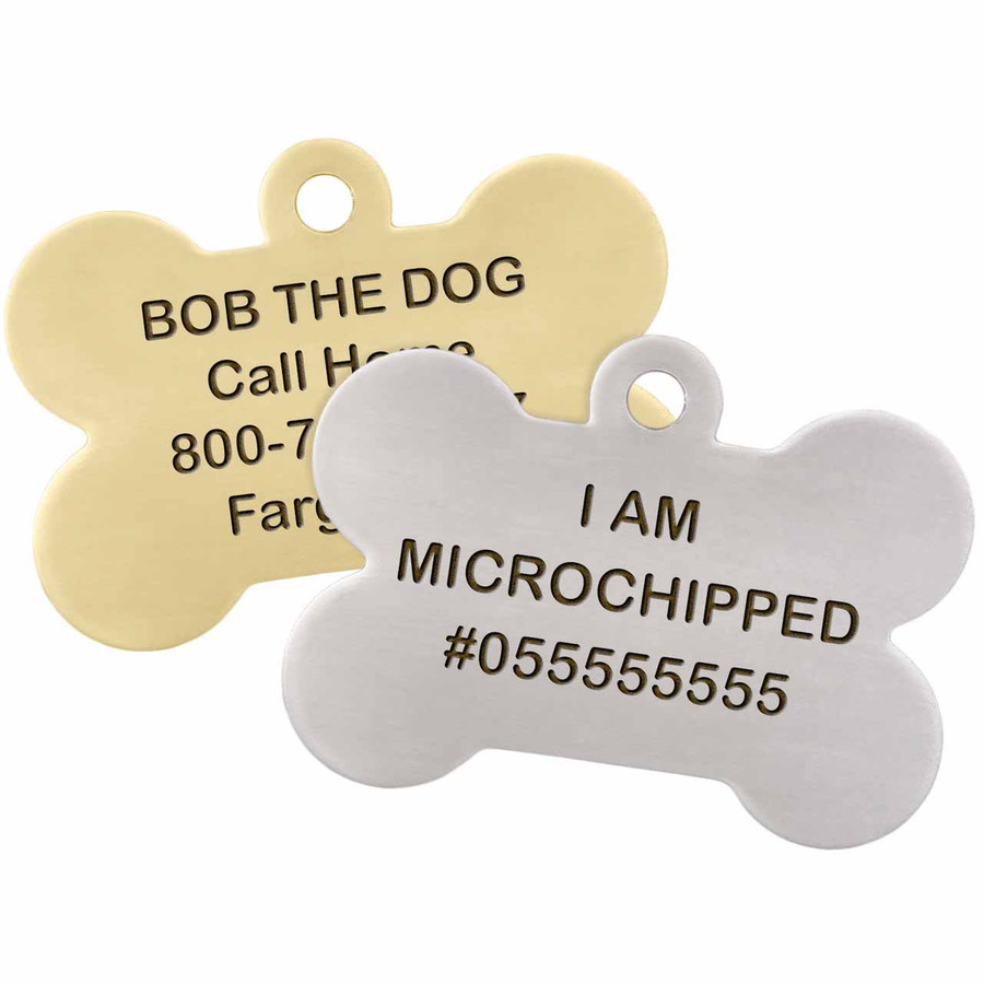 I am Microchipped Bone ID Tag