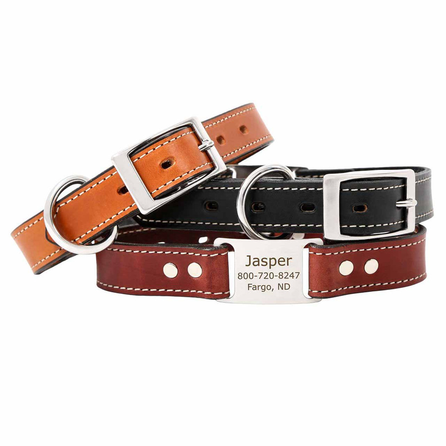 Leather ScruffTag Personalized Dog Collars