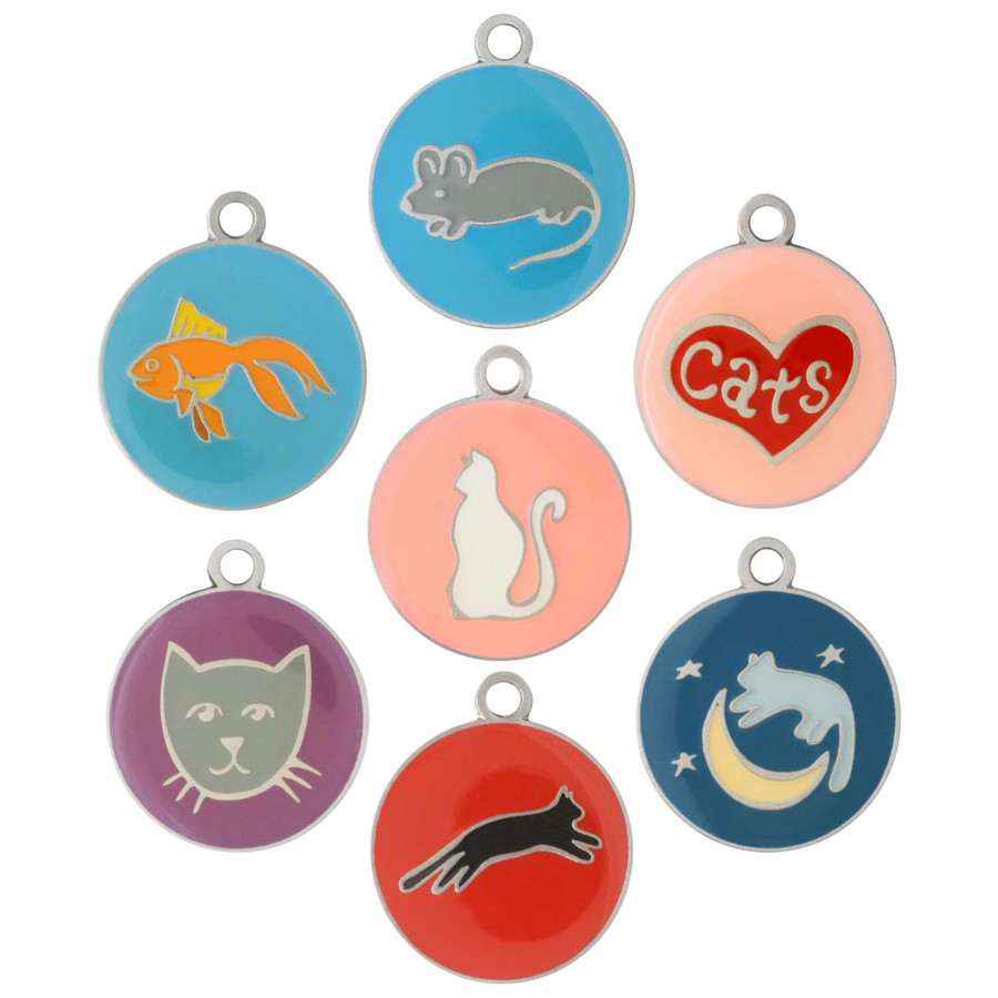 Painted Designer Cat ID Tags by Andrew