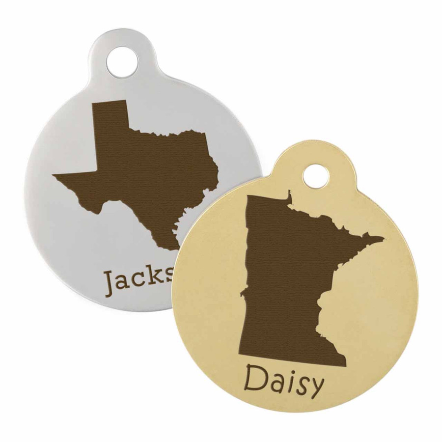 silver and gold state dog tags