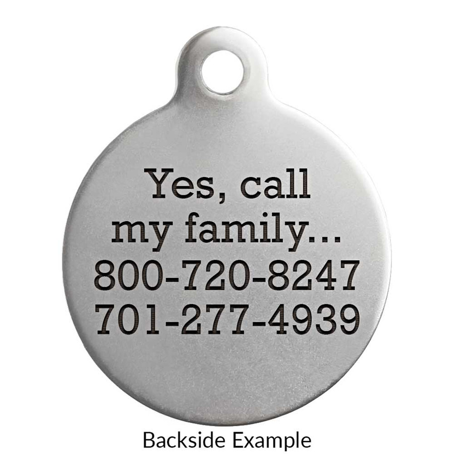 Medical Alert Dog Tags Back Engraving Example