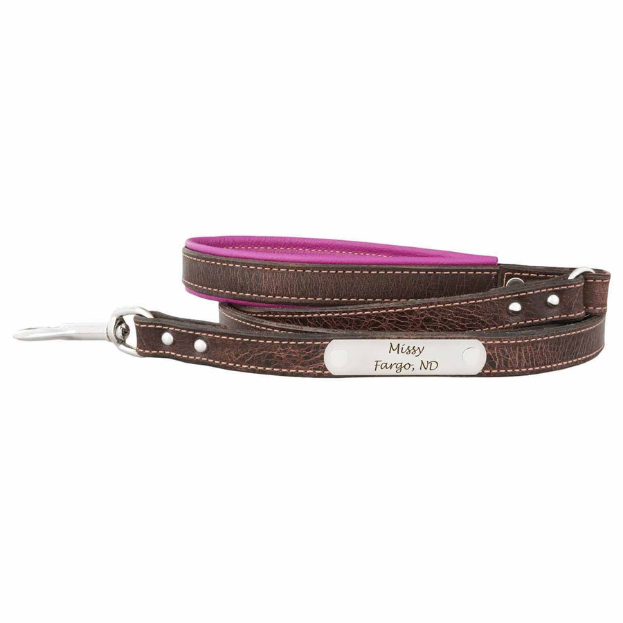 Orion Artisan Leather Personalized Leash Magenta