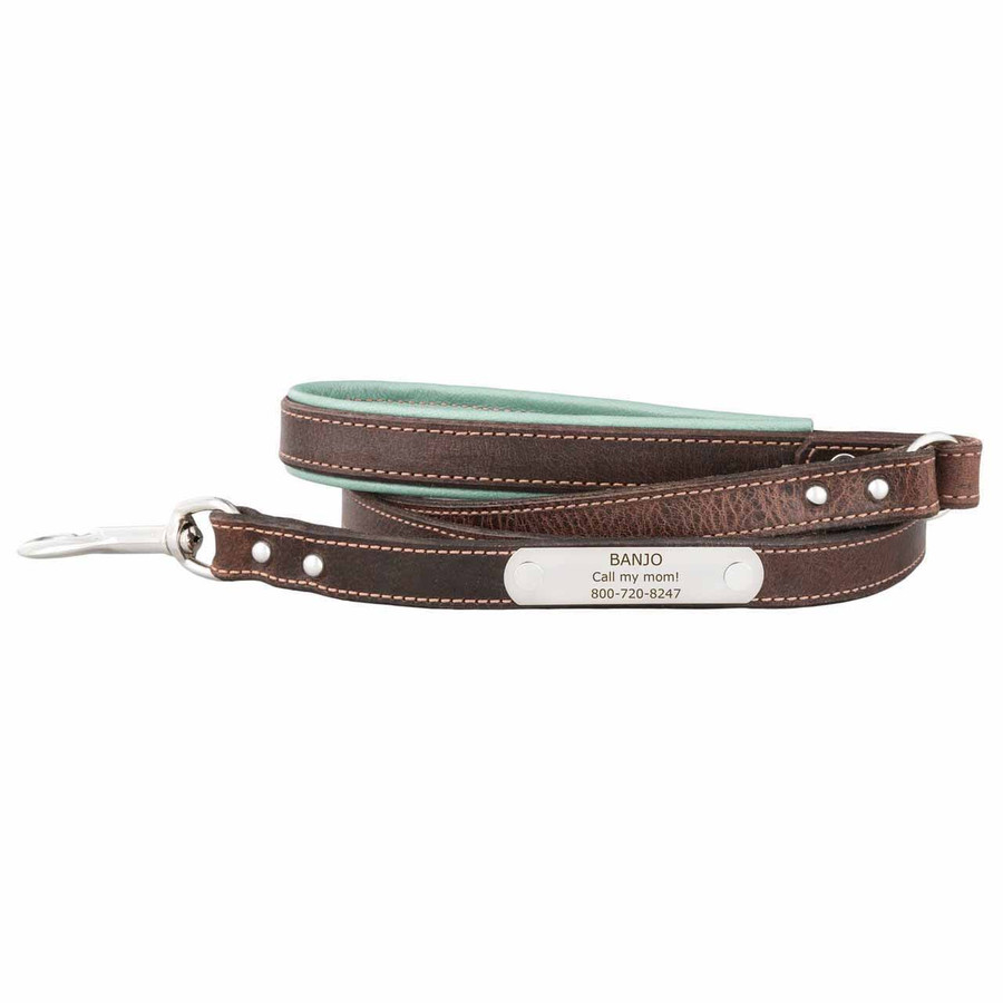 Orion Artisan Leather Personalized Leash Vintage Blue