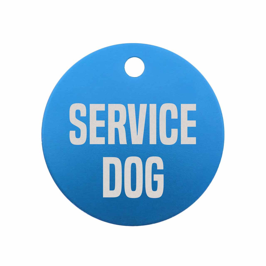 Service Dog Engraved Dog Tag - Blue