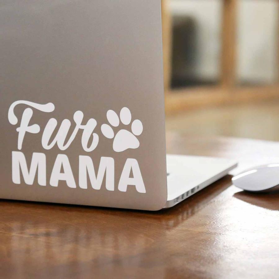 Fur Mama laptop sticker on mac