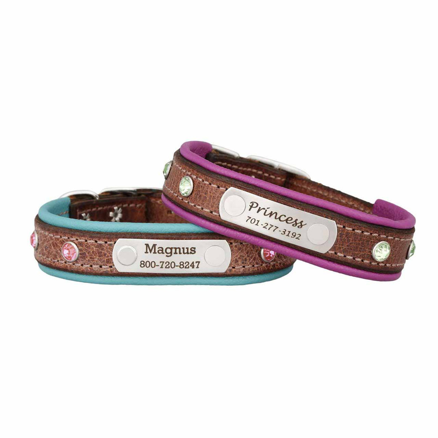 Custom Rhinestone Leather Small Dog Collar