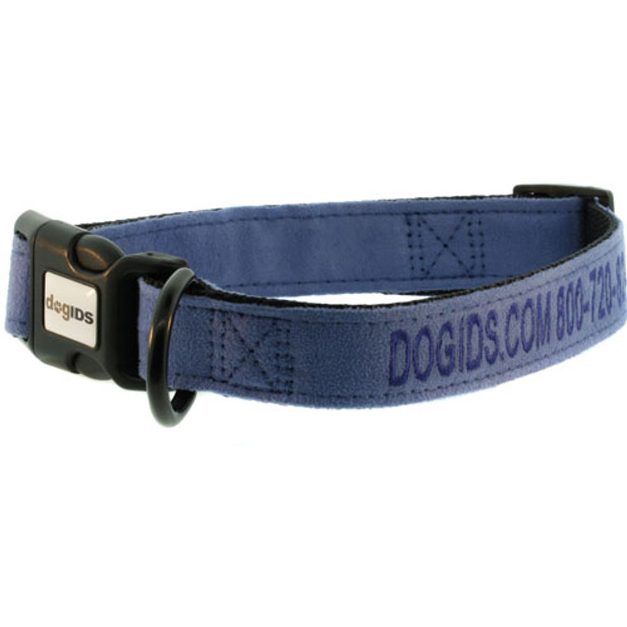 Embroidered Suede Personalized Dog Collar Blue