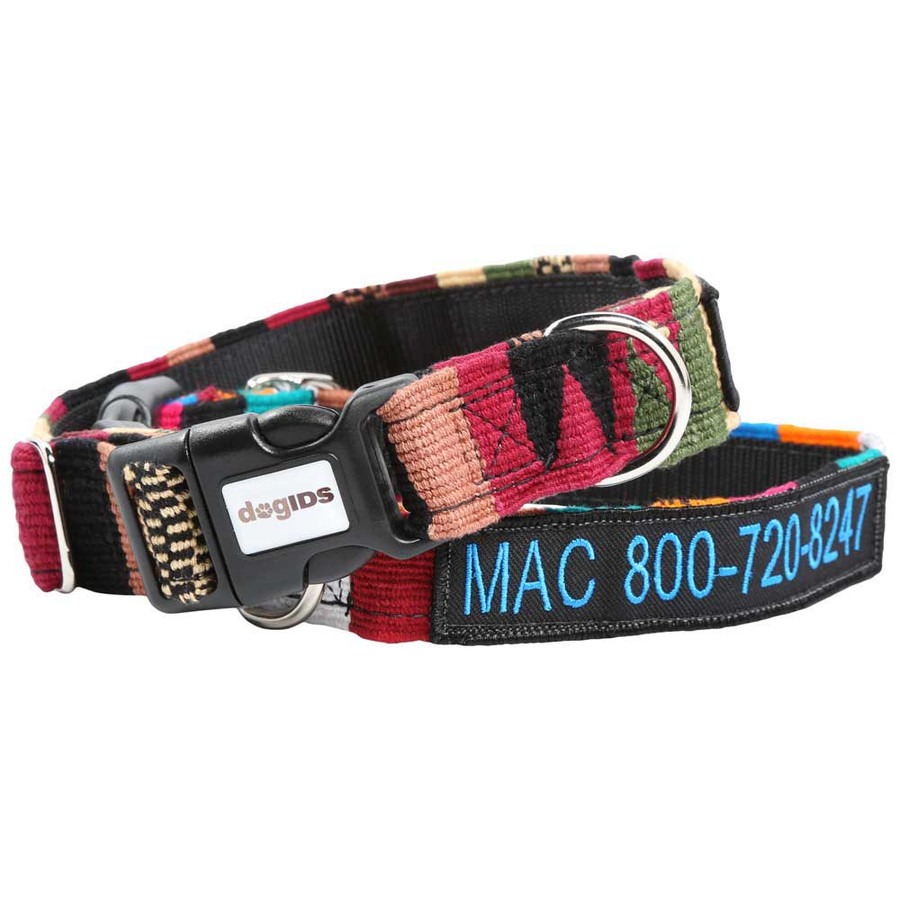 Embroidered Maya Personalized Dog Collar Group
