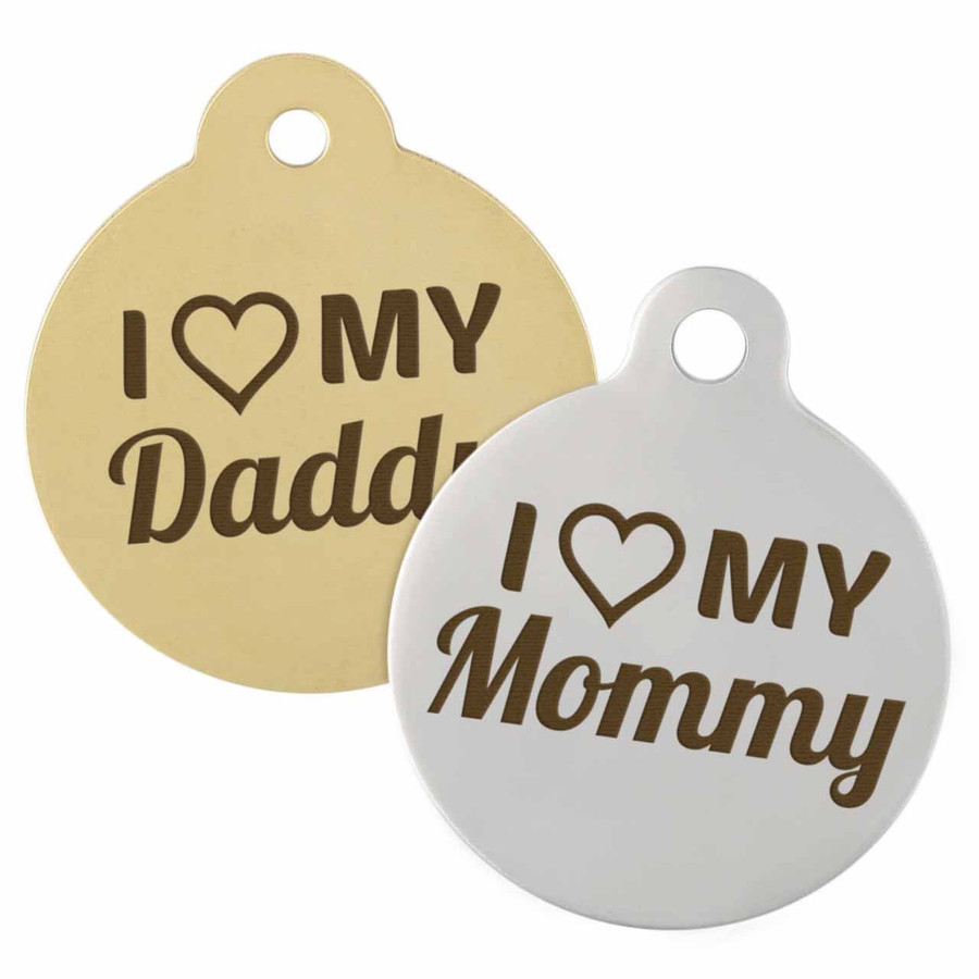 I Love My Mommy & Daddy Dog ID Tags