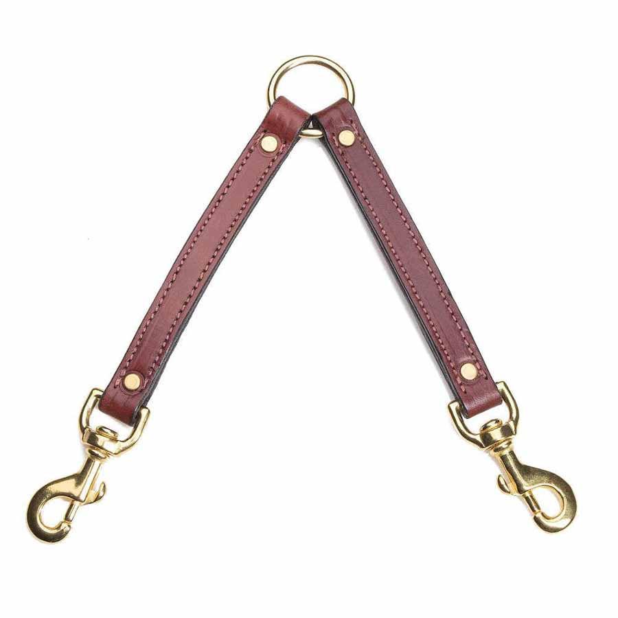 designer leather dog coupler