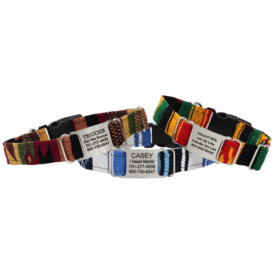 Personalized Maya Woven ScruffTag Dog Collar Group
