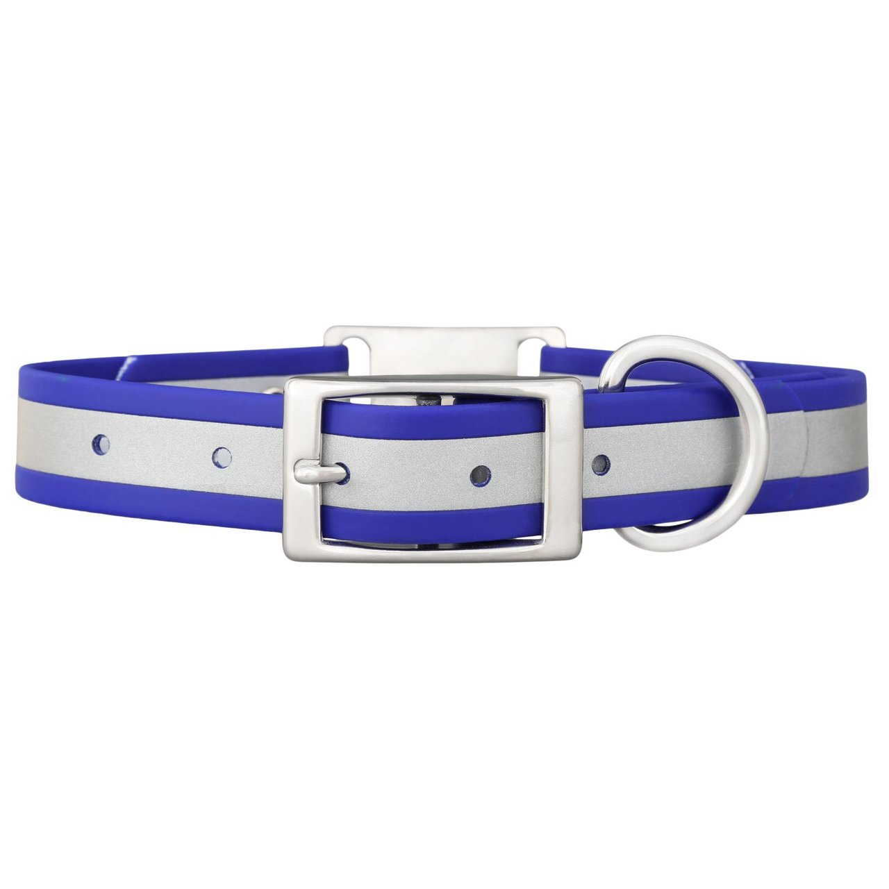 Reflective Waterproof ScruffTag Personalized Dog Collar Blue Buckle View