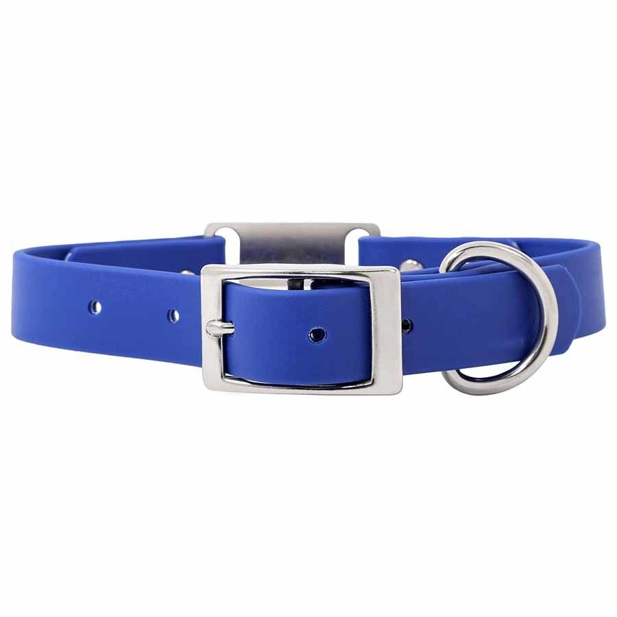 Waterproof Soft Grip ScruffTag Personalized Dog Collar Blue Buckle View