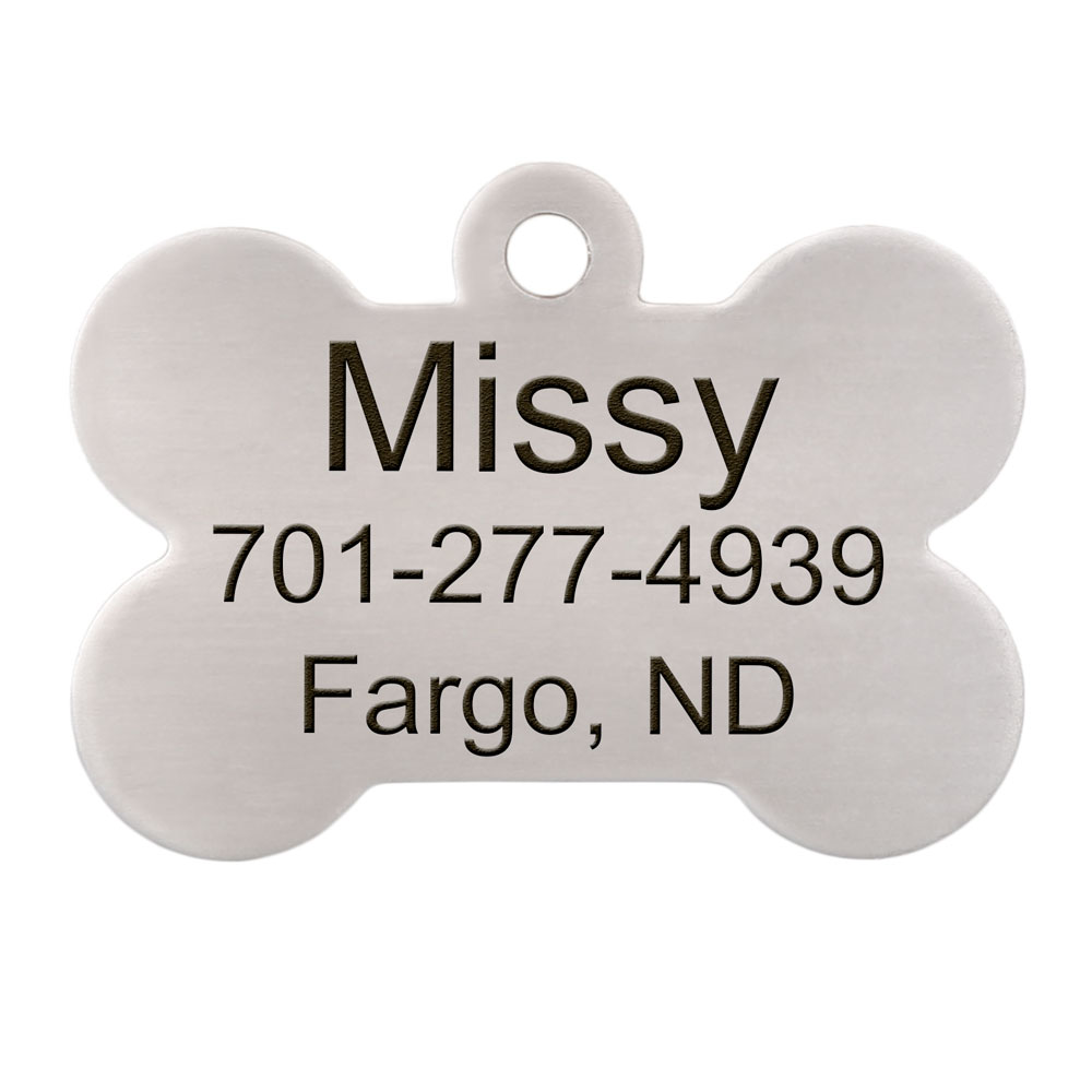 Bone Dog ID Tag Stainless Steel