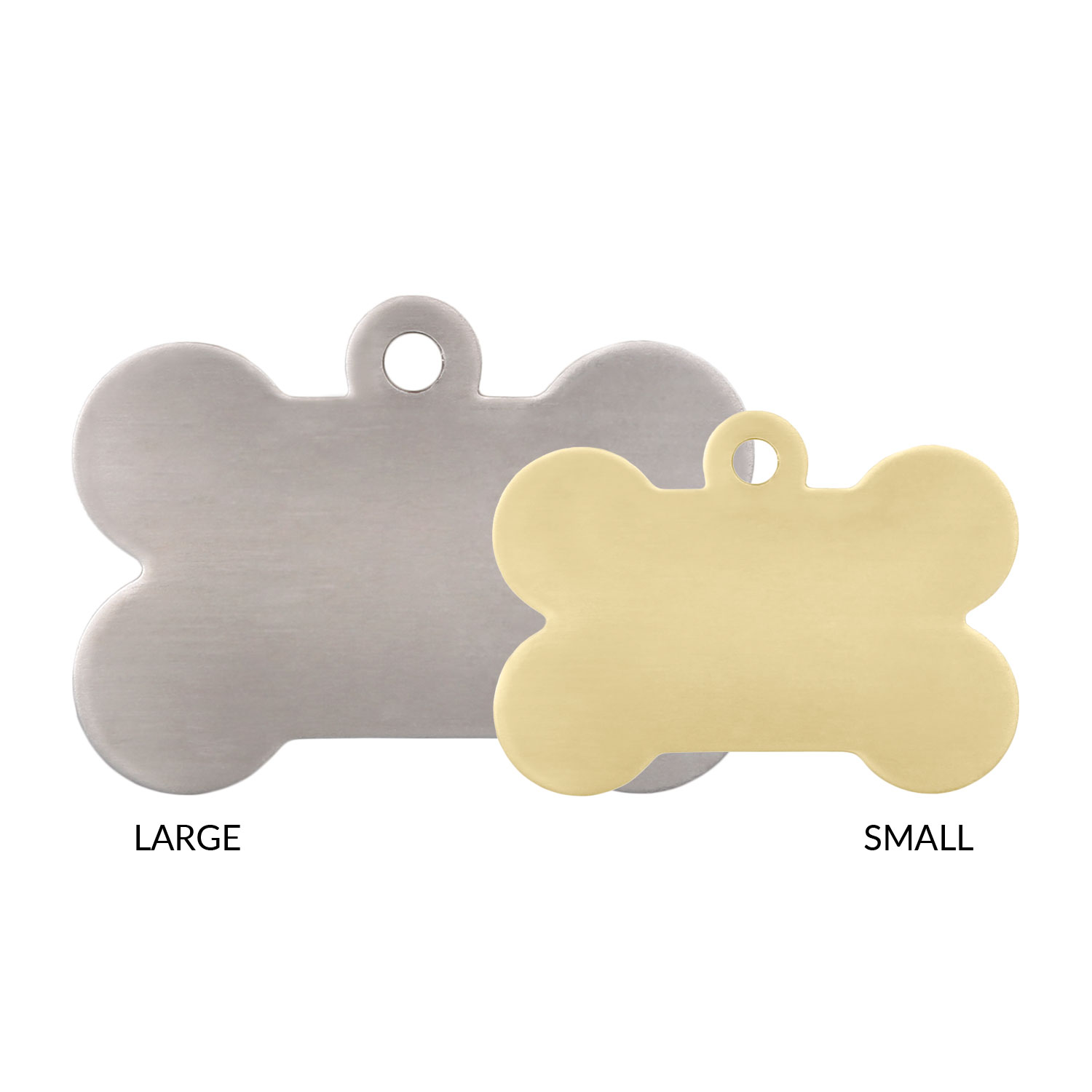 Bone Dog ID Tag Sizes Comparison