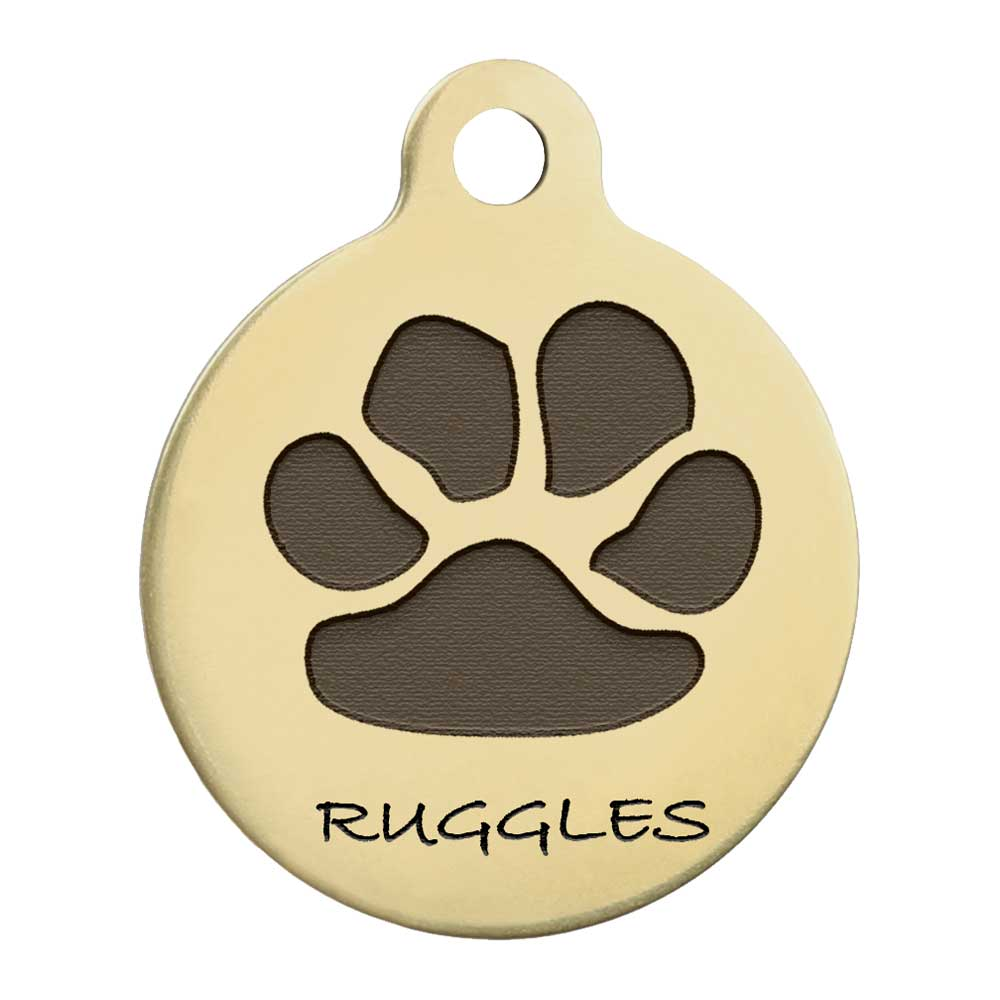 Paw Print Design Dog ID Tag Solid Brass Front