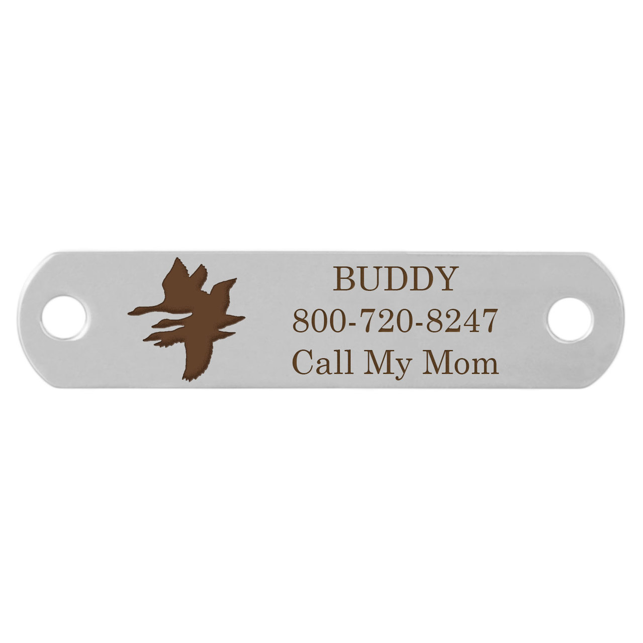 Sport Dog Rivet-On Dog Collar Name Plate Stainless Steel Geese Flying