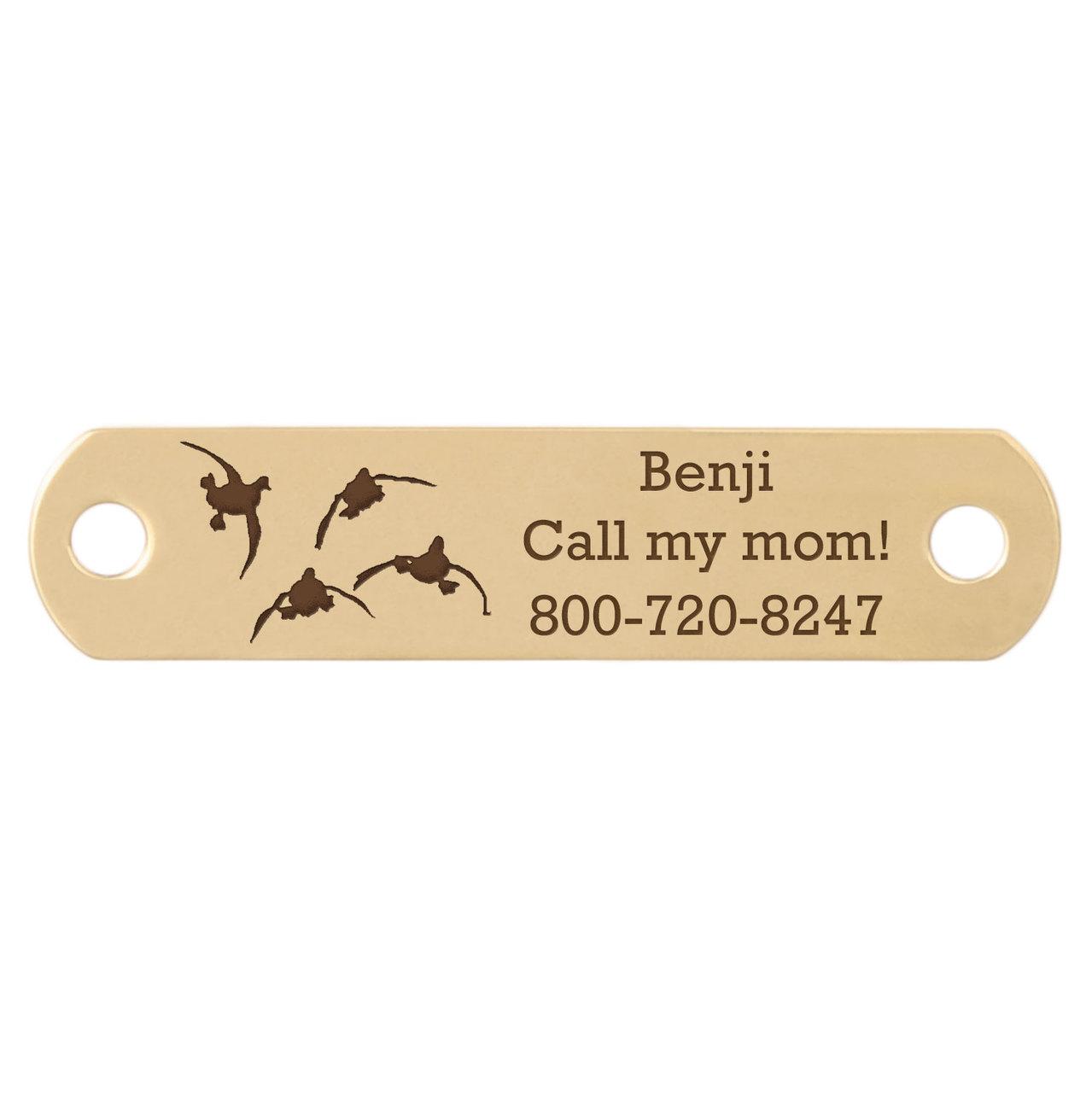 Sport Dog Rivet-On Dog Collar Name Plate Solid Brass Ducks Flying