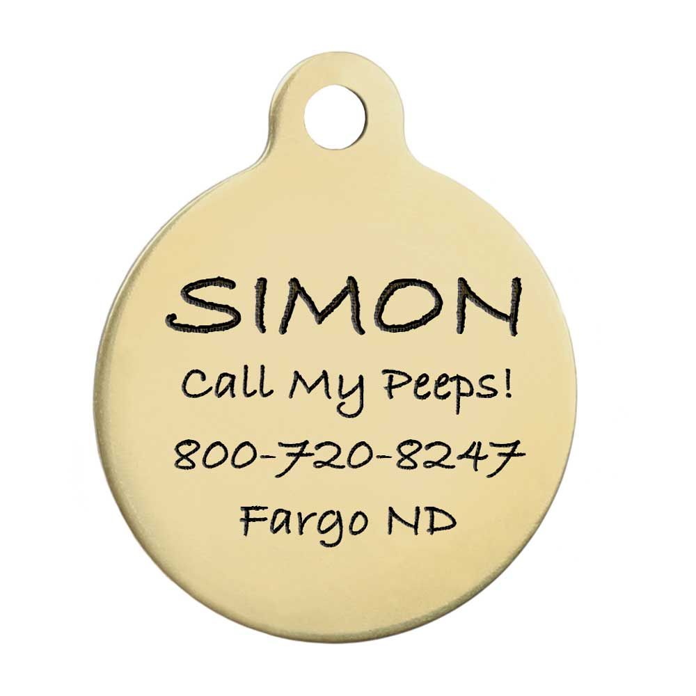 Round Dog ID Tag Solid Brass