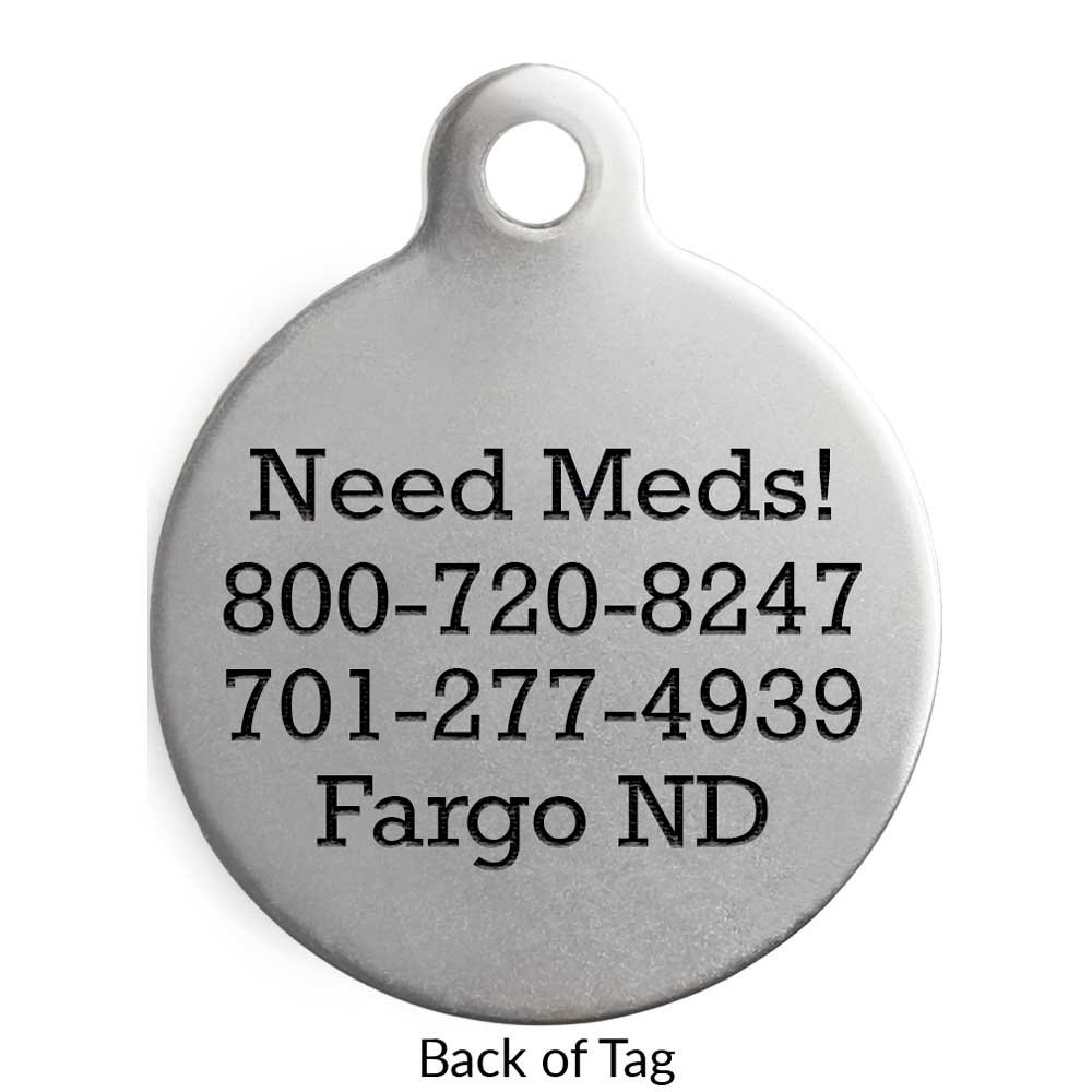 Round Dog ID Tag Stainless Steel Backside Engraving