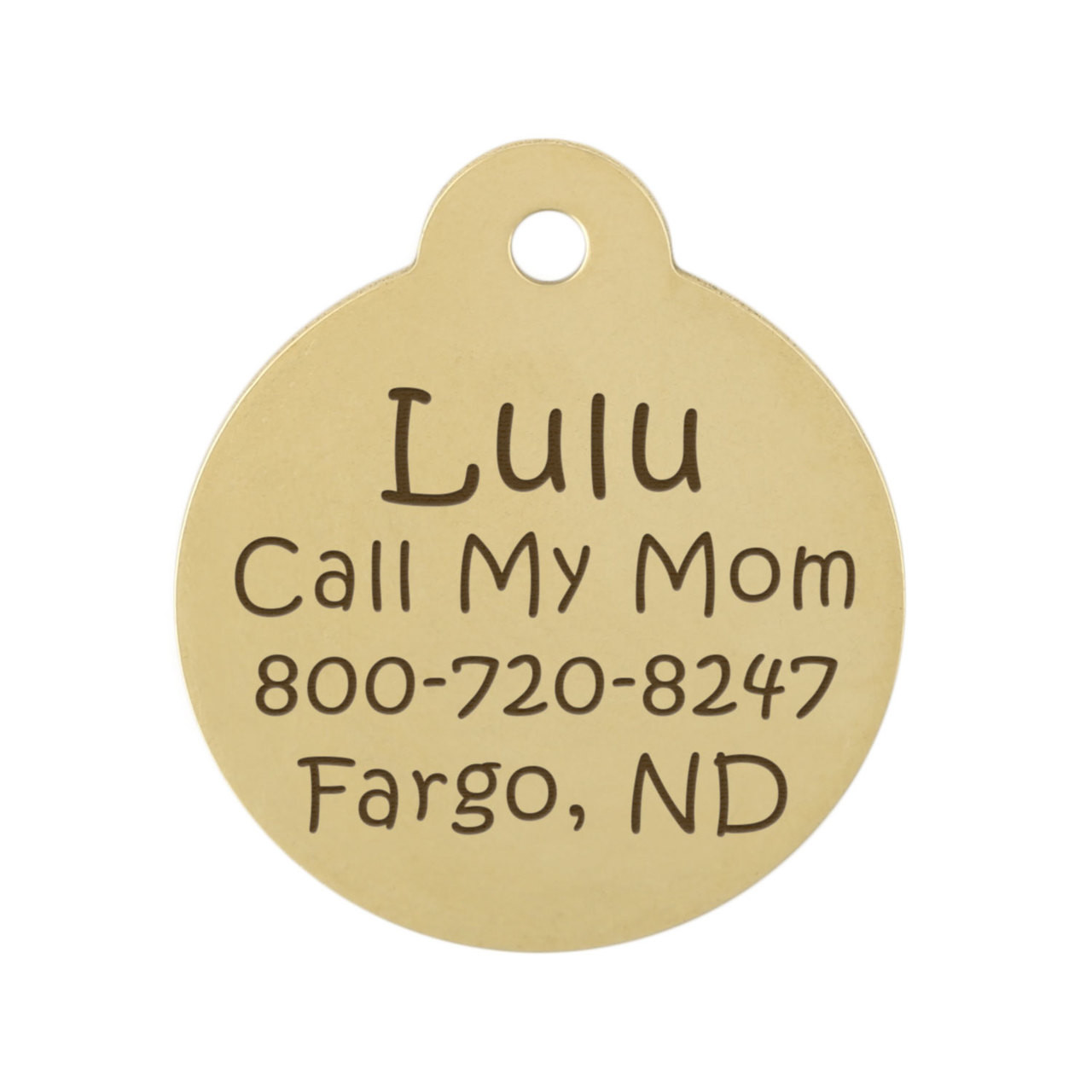 Lightning Bolt Dog ID Tag Brass Back of Tag
