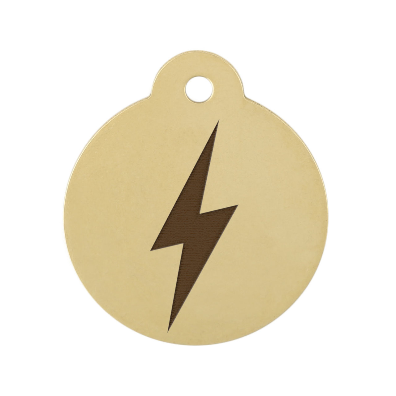 Lightning Bolt Dog ID Tag Brass