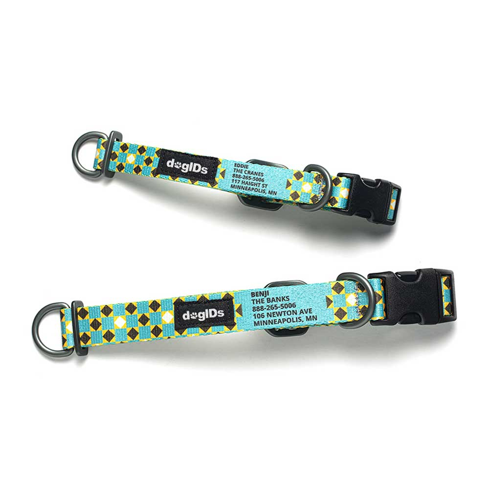 Printed Pattern Nylon Personalized Dog Collar Mod Tie Lighter Blue