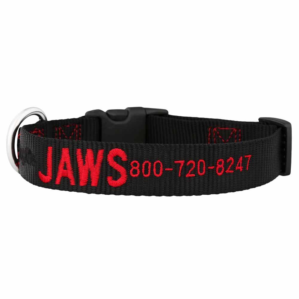 Embroidered Nylon Dog Collar Black Red