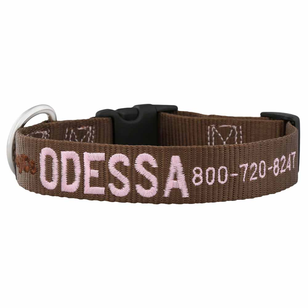 Embroidered Nylon Dog Collar Brown Pink