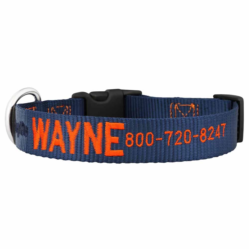 Embroidered Nylon Dog Collar Navy Orange