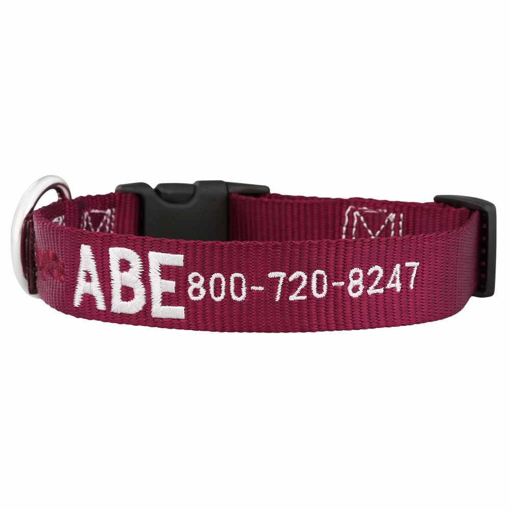 Embroidered Nylon Dog Collar Burgundy White