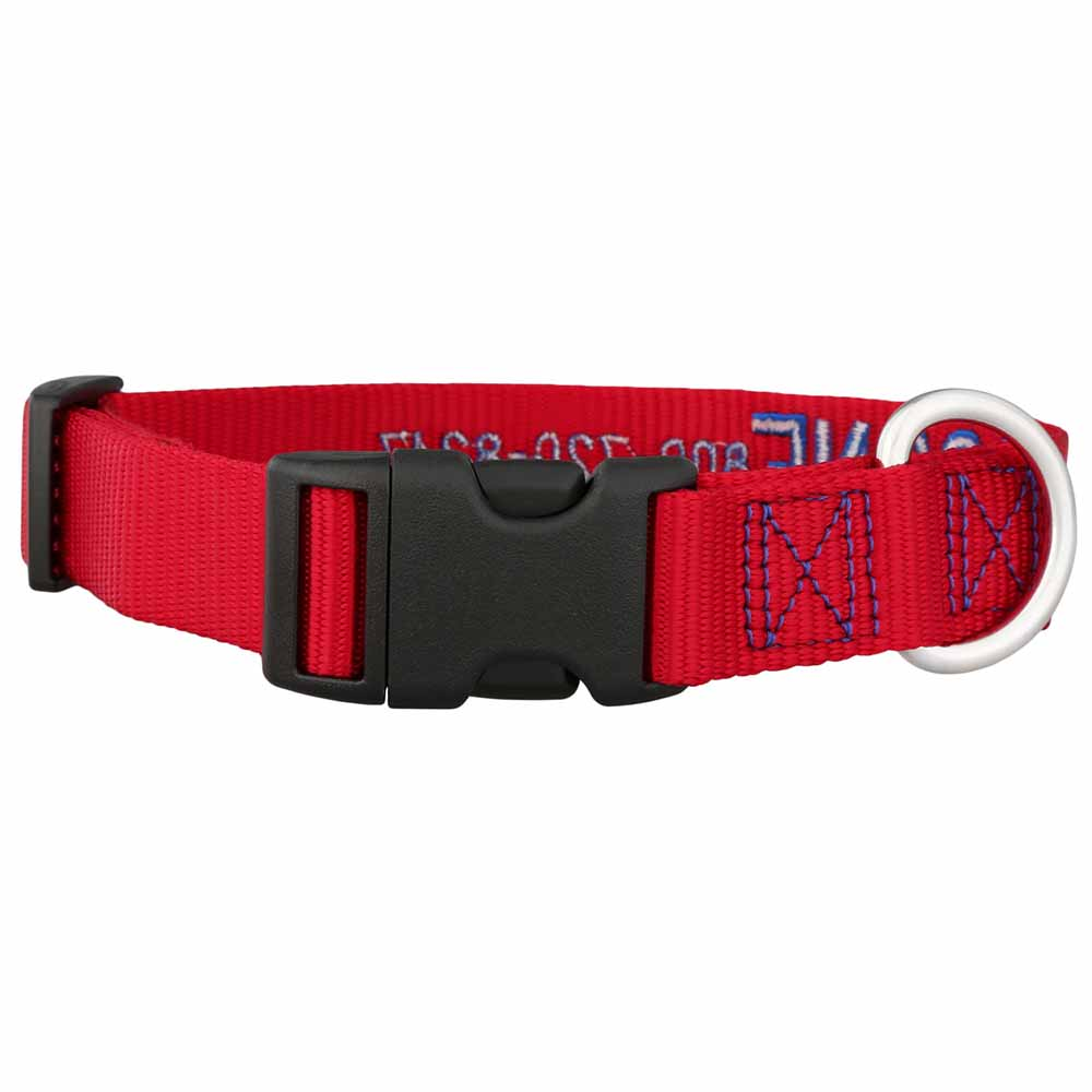 Embroidered Nylon Dog Collar Red Blue Buckle View