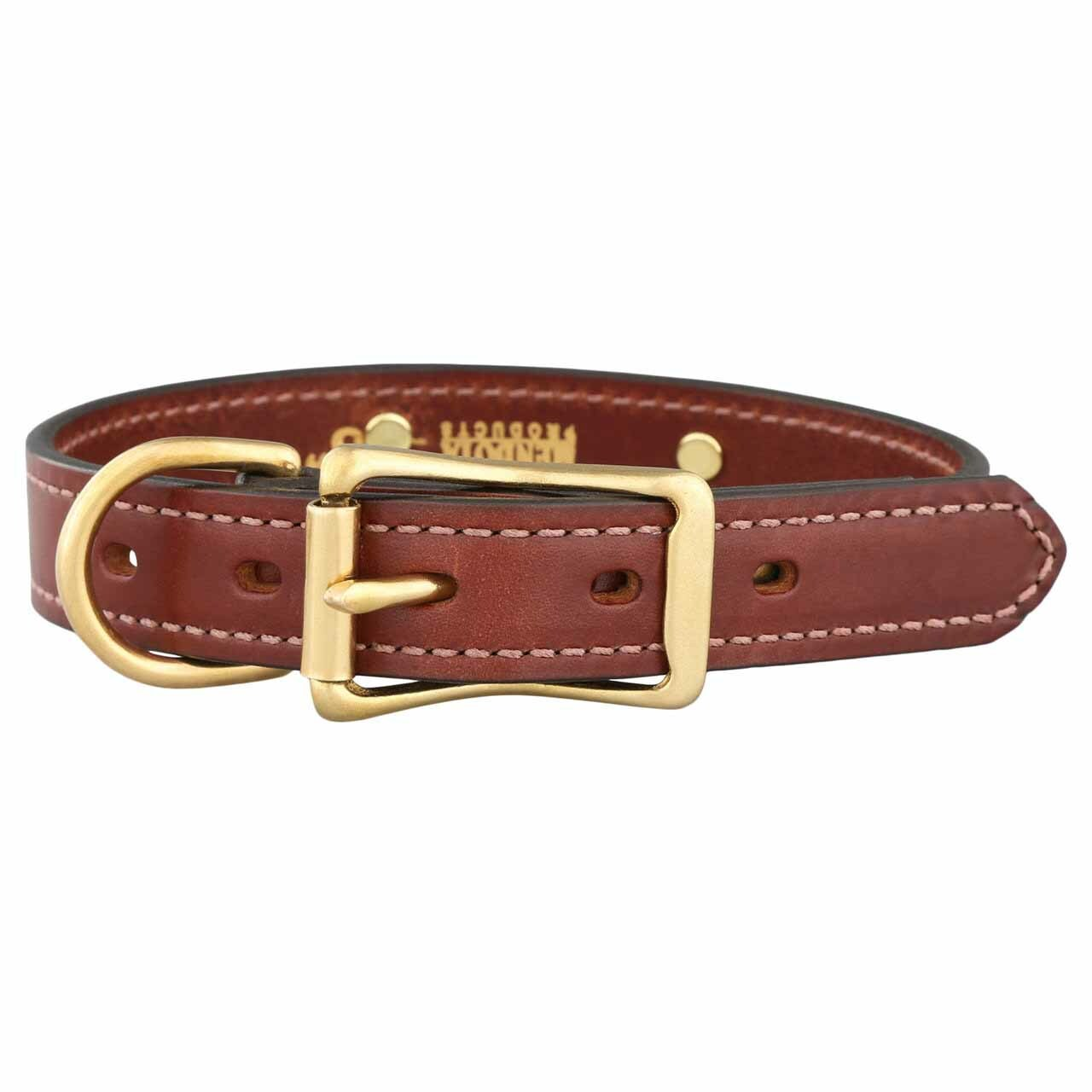 Mendota Leather Dog Collar with Personalized Nameplate