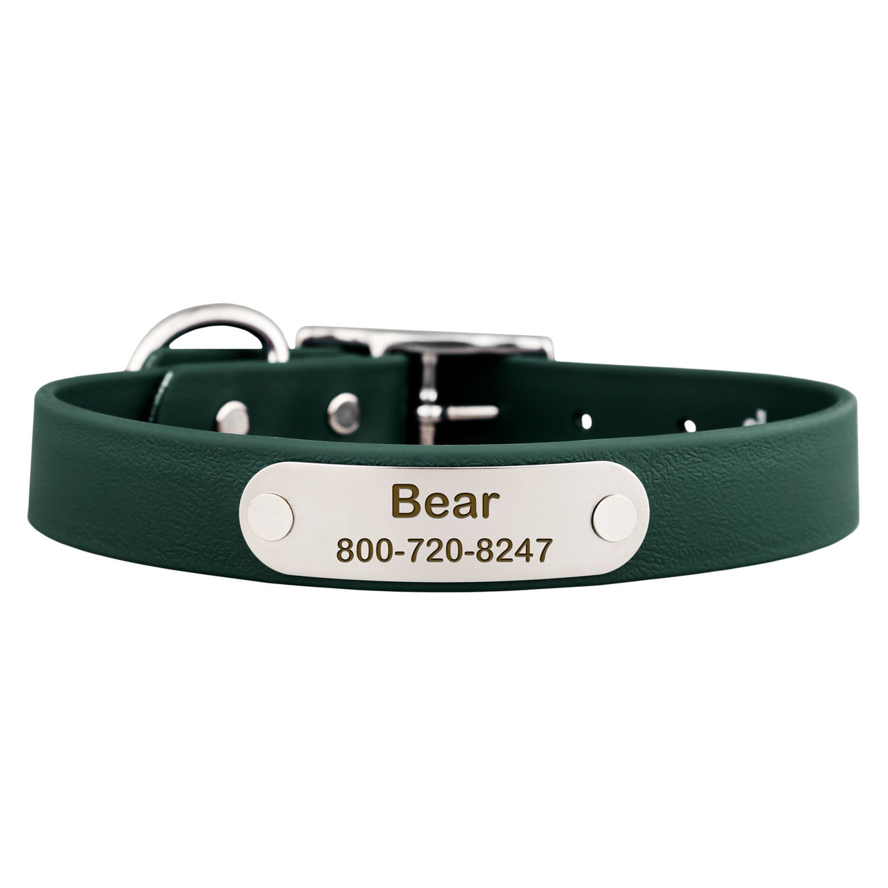 Waterproof Soft Grip Dog Collar with Personalized Nameplate Hunter Green