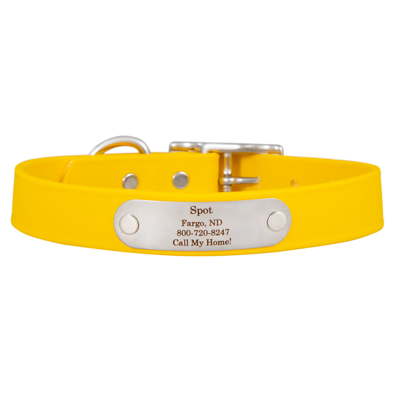 Waterproof Soft Grip Dog Collar with Personalized Nameplate Yellow